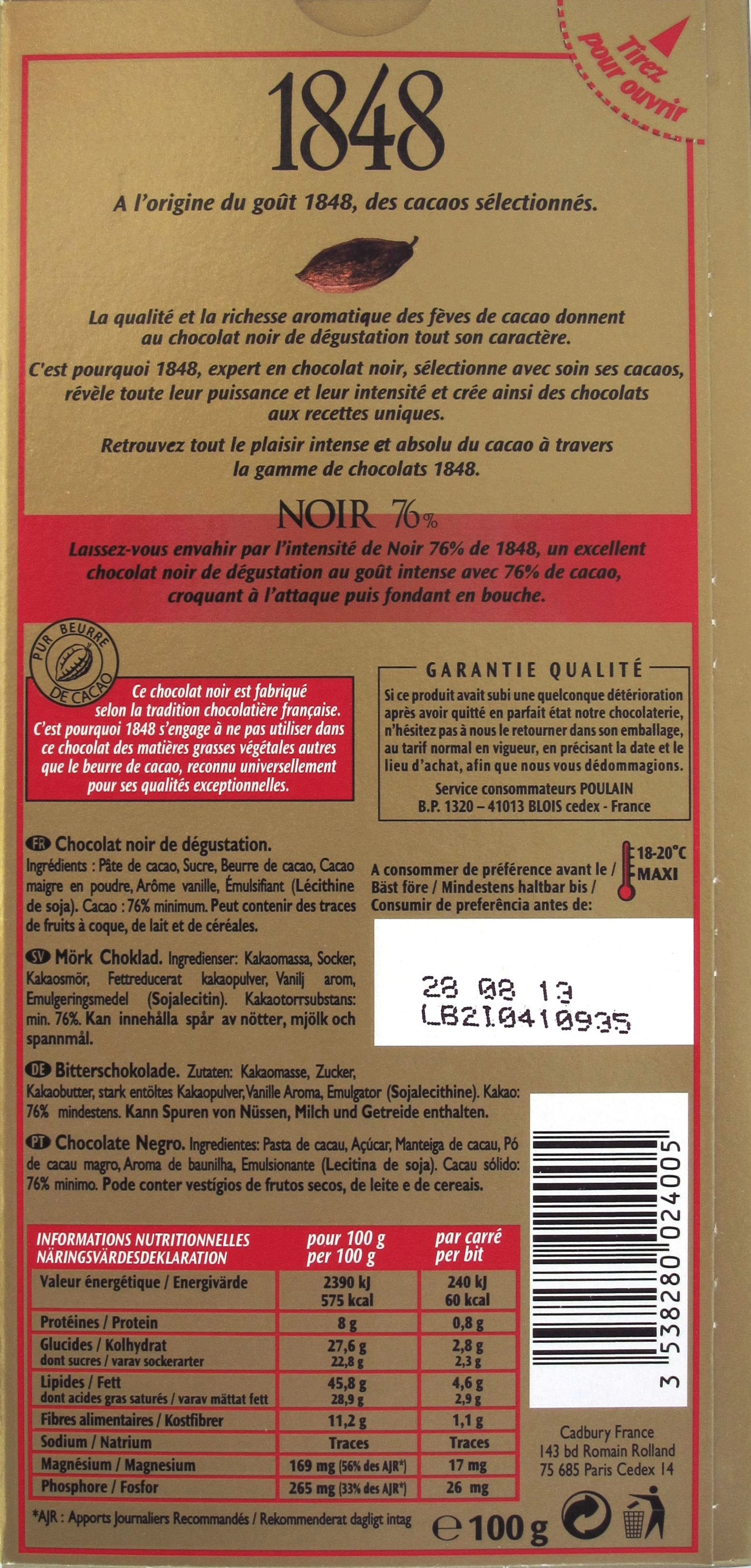 """Tafelrückseite Poulain """"1848"""" 76%"""