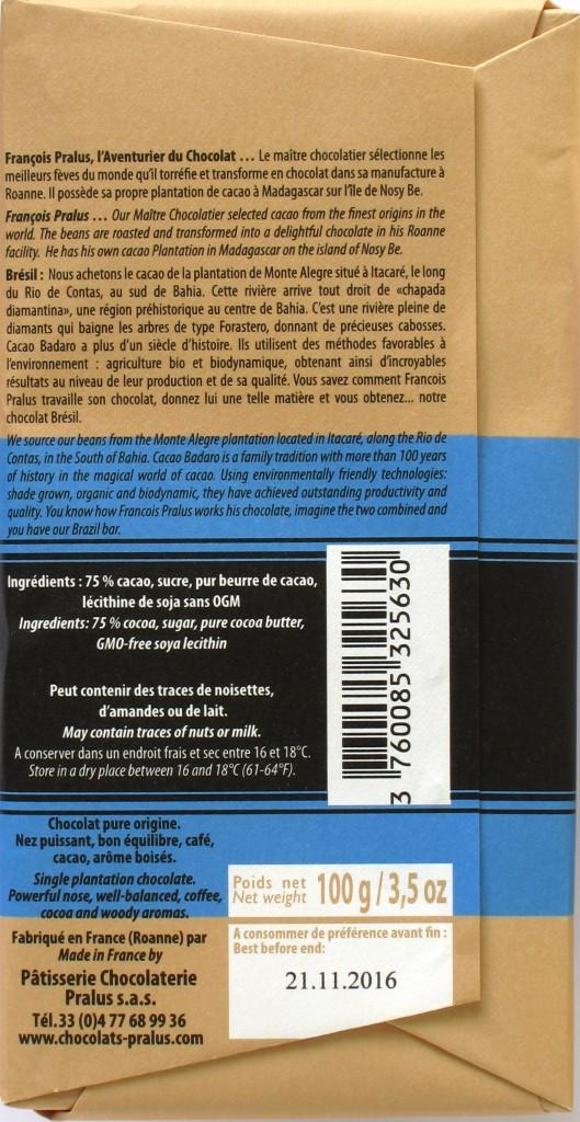 Brasilien-Bitterschokolade 75% Pralus, Rückseite
