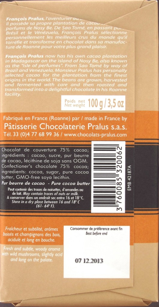 Pralus Indonésie - Schokolade Rückansicht