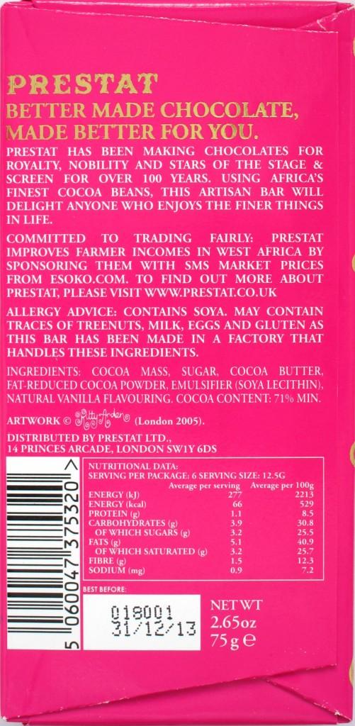 Prestat 71% Schokolade aus Westafrika, Rückseite und Inhaltsangaben
