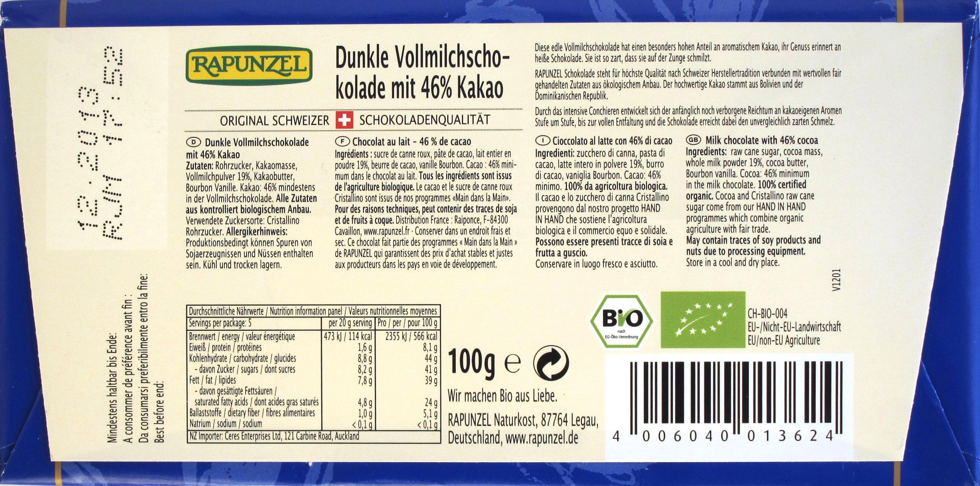 Rapunzel 46% Dunkle Vollmilchschokolade, Rückseite