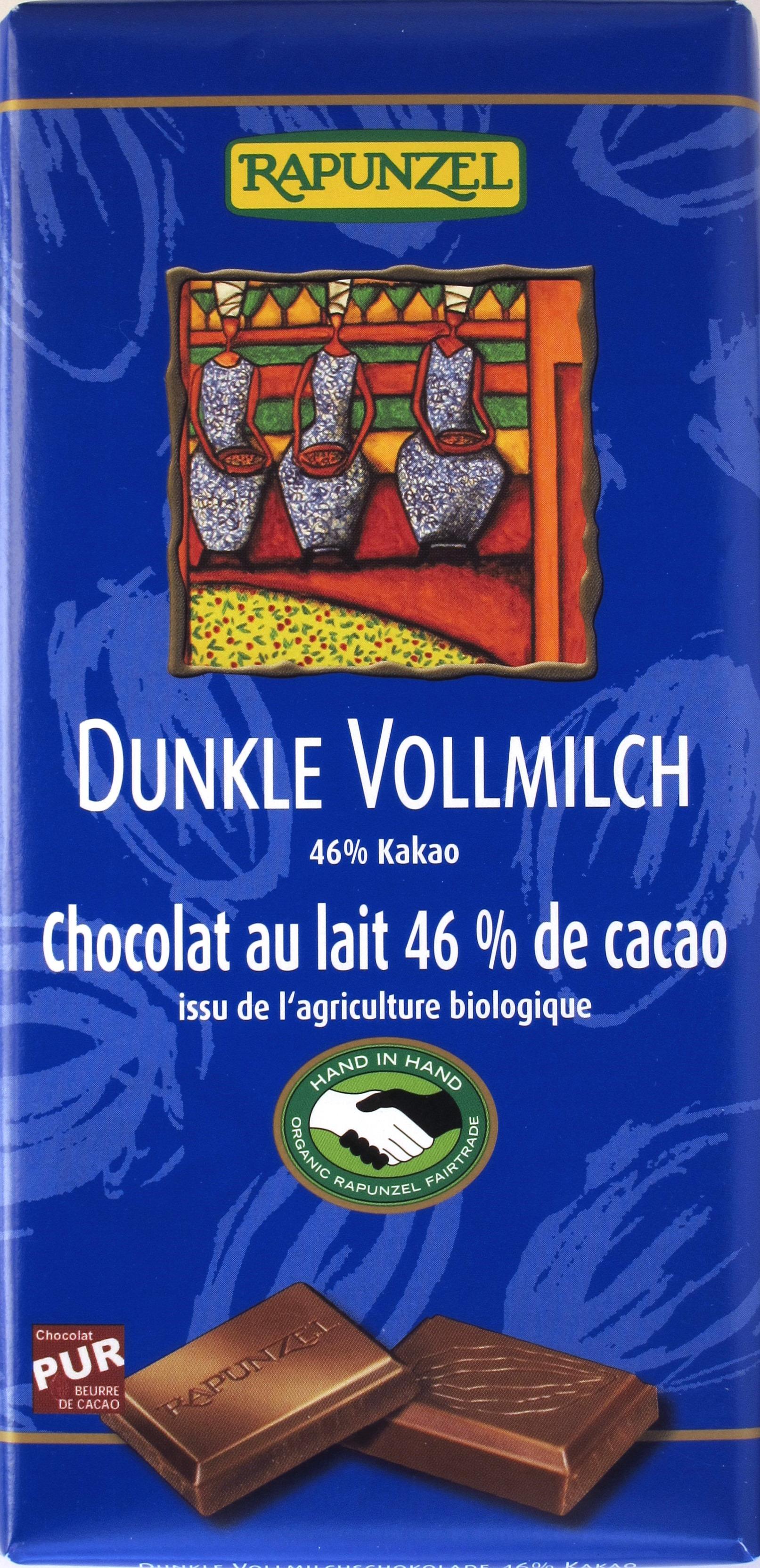 Rapunzel 46% Dunkle Vollmilchschokolade, Vorderseite