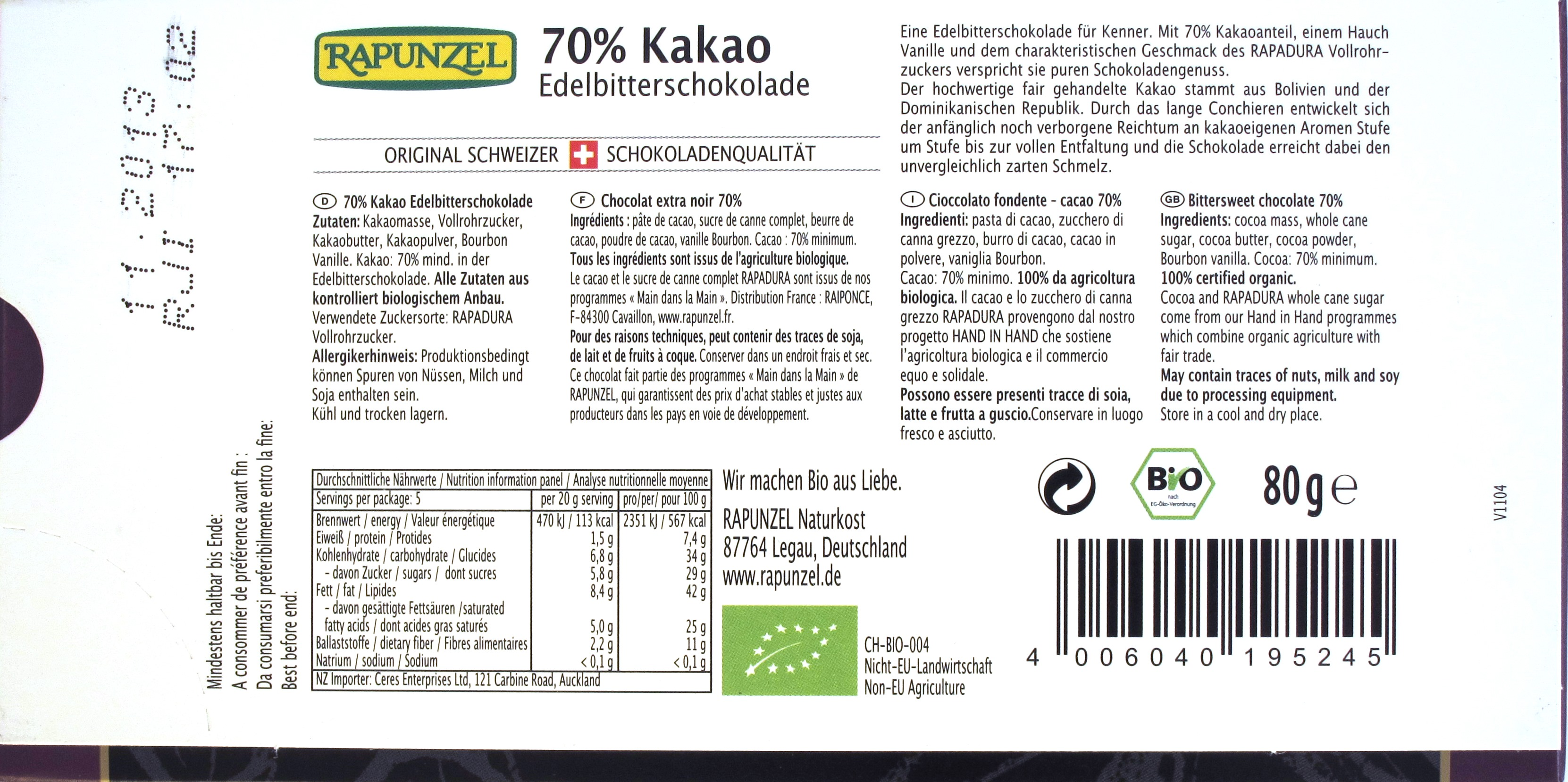 Rapunzel 70%-Schokolade Rückseite