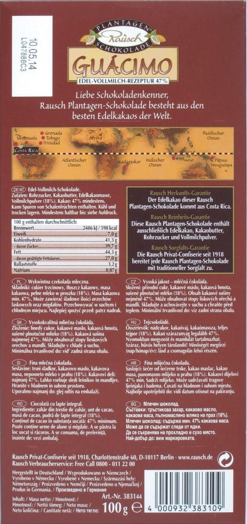"Rausch-Schokolade ""Guácimo"" - Rückseite"