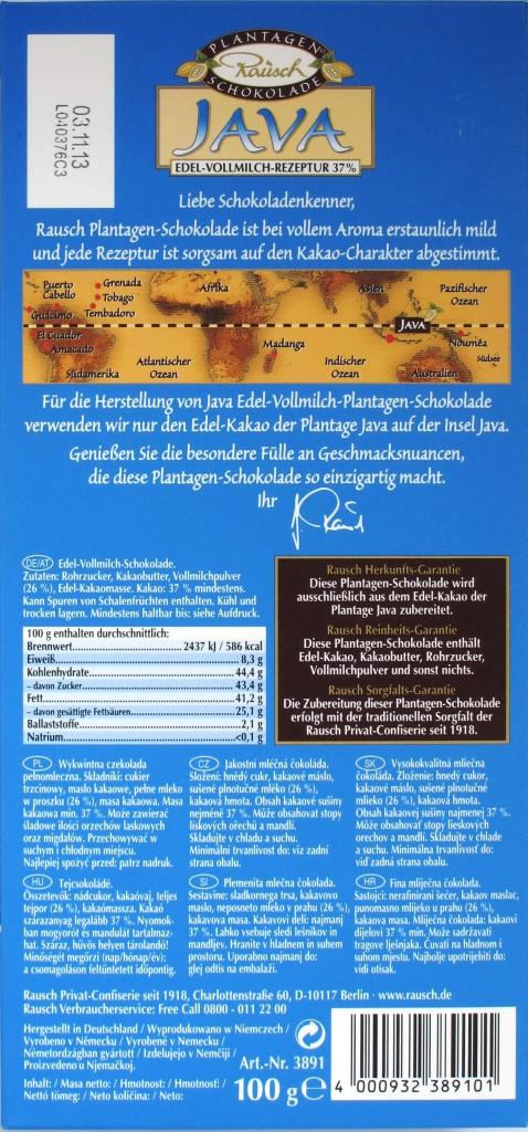 "Rausch 37% Plantagenschokolade ""Java"" - Rückseite"