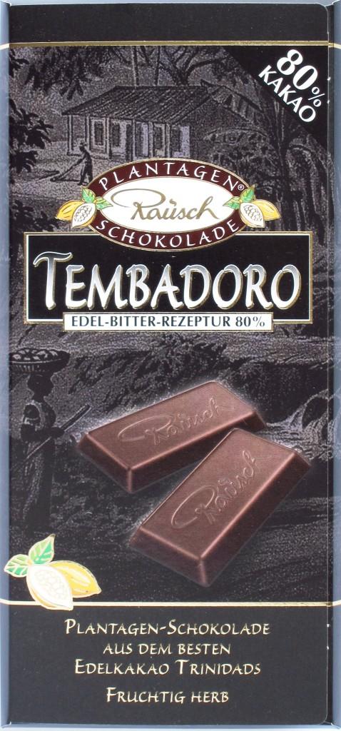 Vorderseite: Bitterschokolade Rausch Tembadoro, 80%