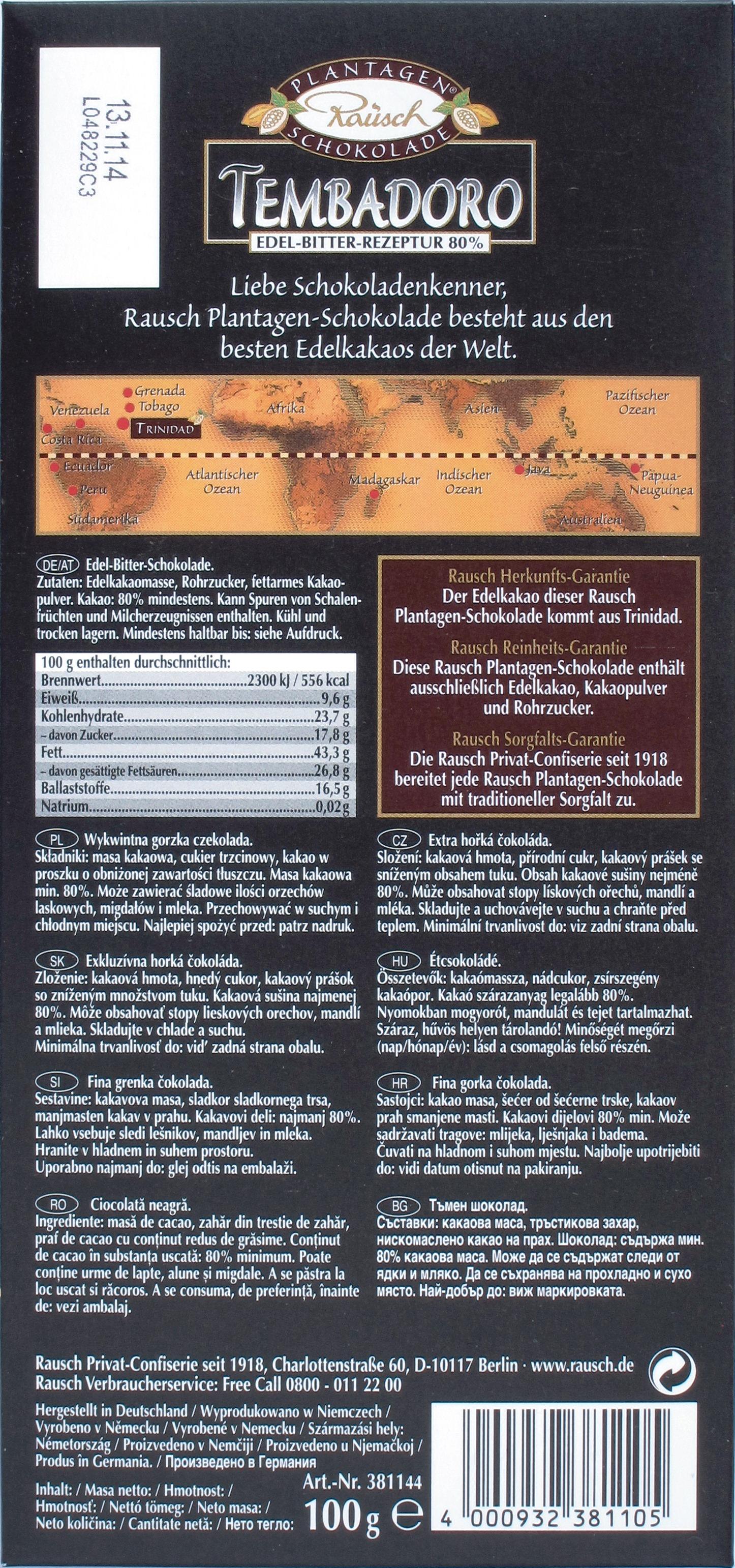 Rückseite: Bitterschokolade Rausch Tembadoro, 80%
