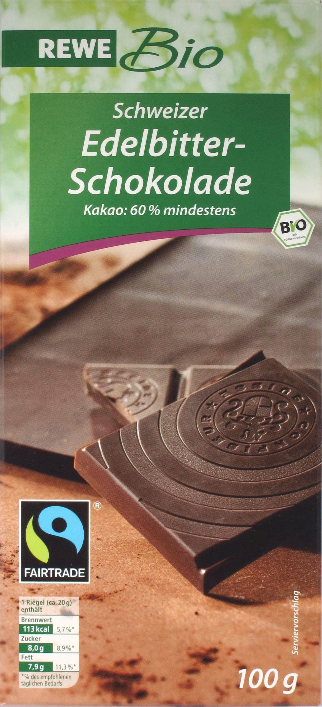 REWE Edelbitter-Schokolade, 60%, Fairtrade, Bio