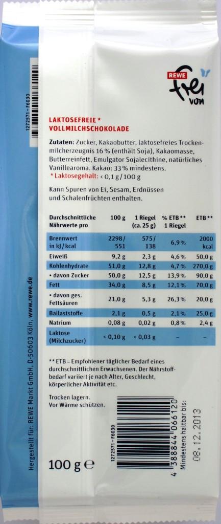 REWE laktosefreie Vollmilchschokolade, Rückseite