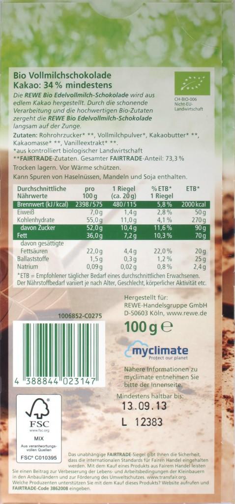 Tafelrückseite REWE Schweizer Vollmilchschokolade Bio- und Fairtrade