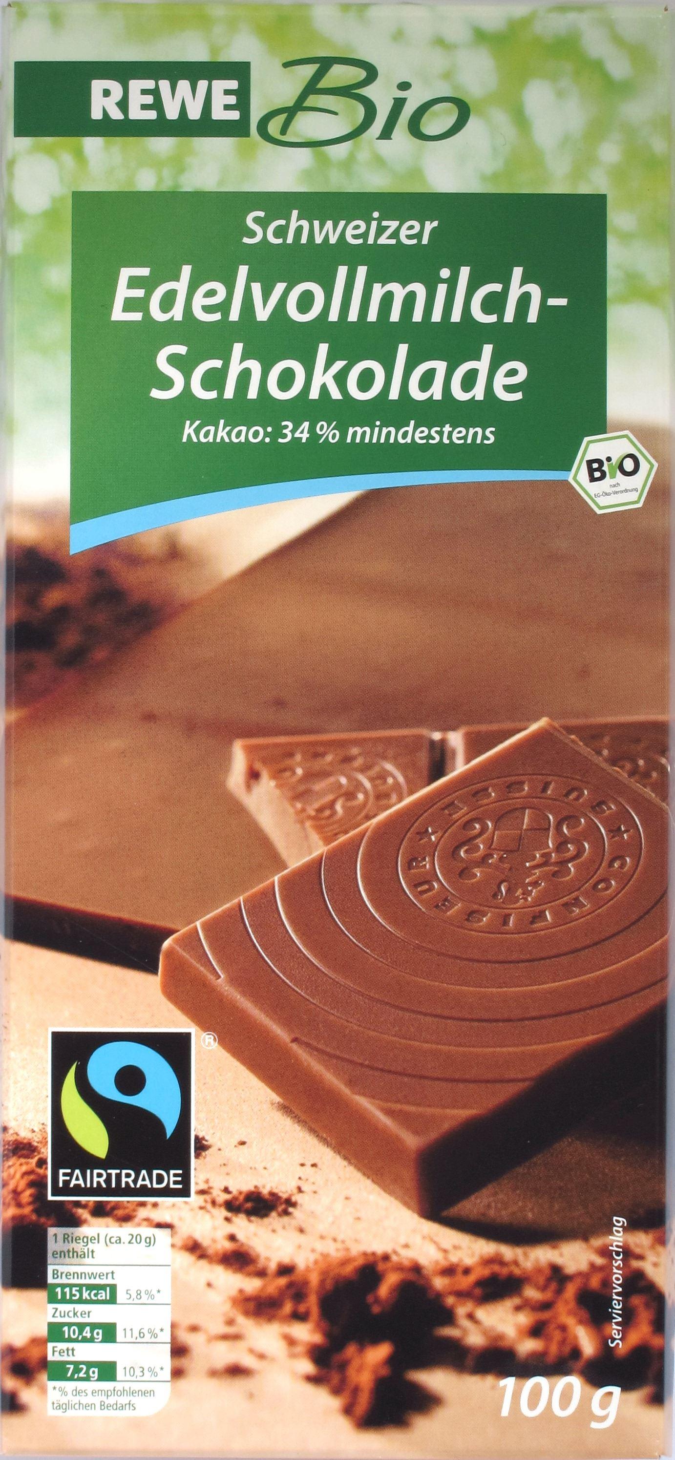 Tafelvorderseite REWE Schweizer Vollmilchschokolade Bio- und Fairtrade