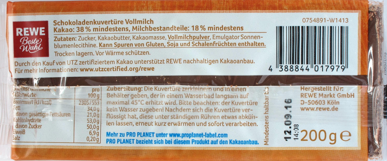REWE-Vollmilch-Backkuvertüre, Inhaltsangaben