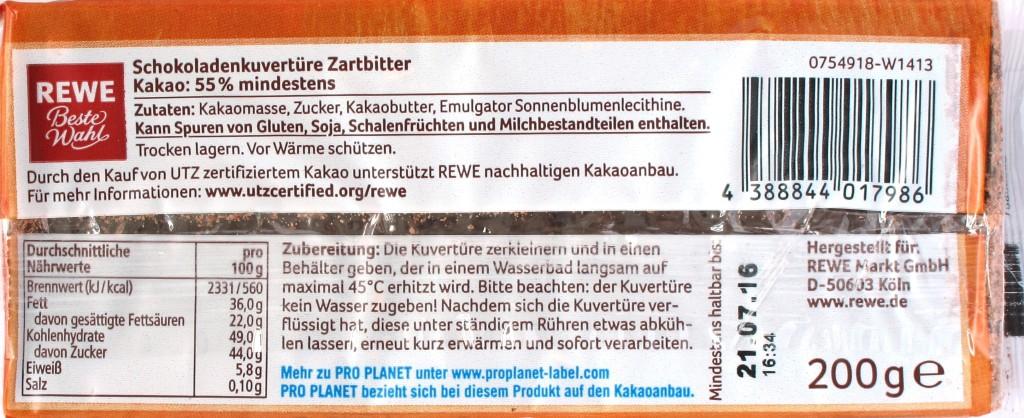 REWE Zartbitter-Backkuvertüre, Rückseite