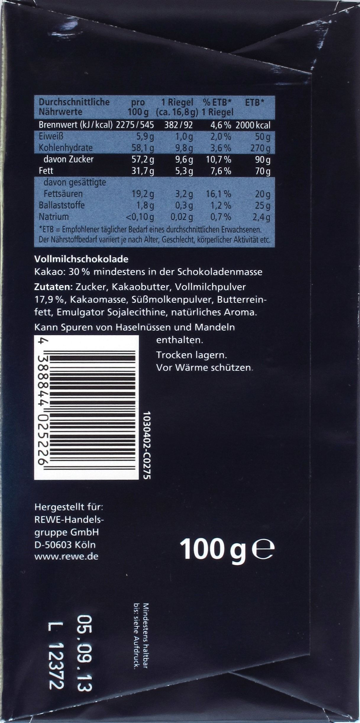 Rewe 30% Milchschokolade - Rückseite