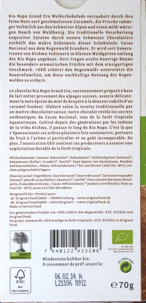 Rio Napo 40% Milchschokolade: Rückseite