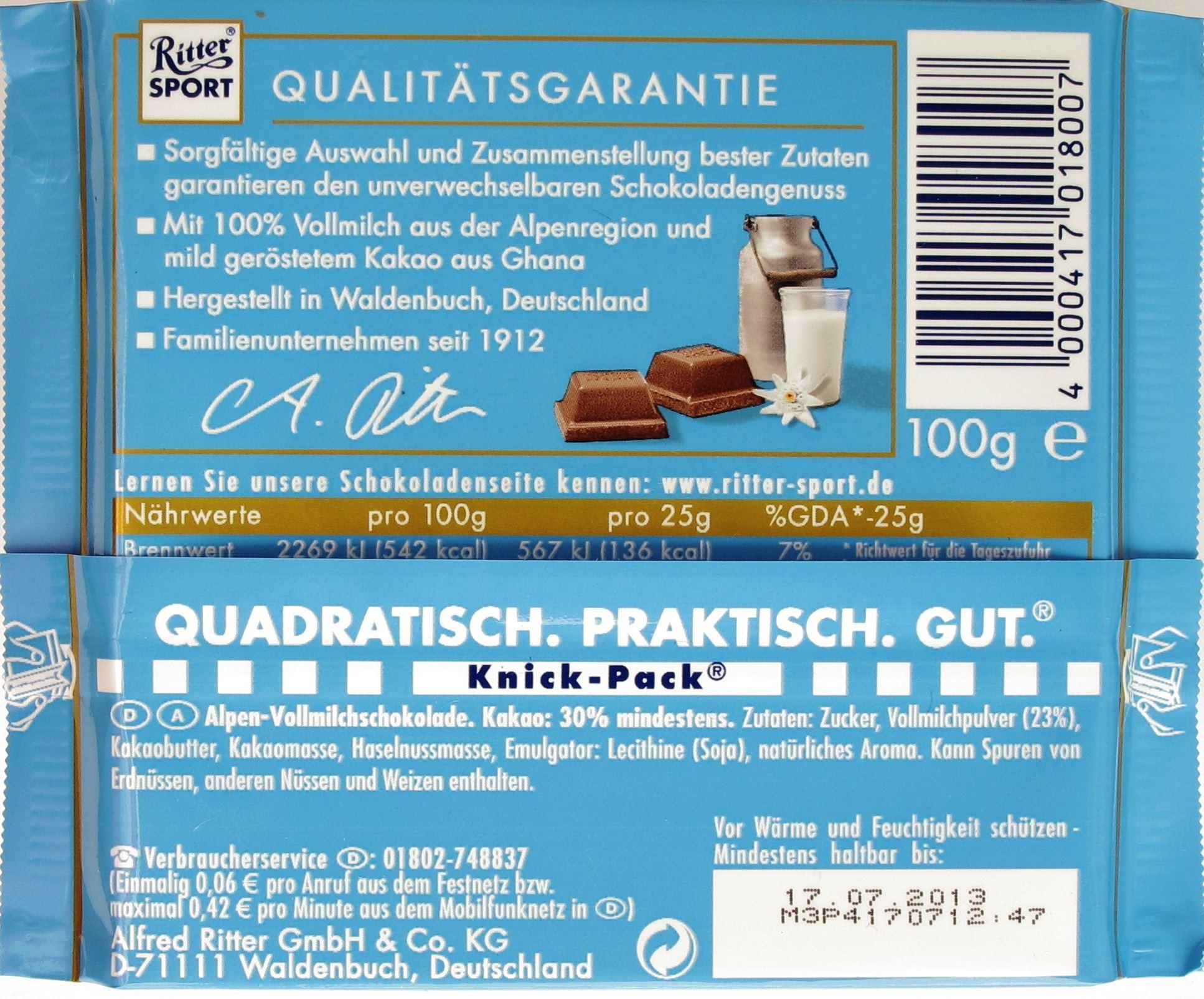 Ritter-Sport Alpenmilch: Rückseite