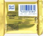 Ritter Sport Milchschokolade Goldschatz 40%, Rückansicht