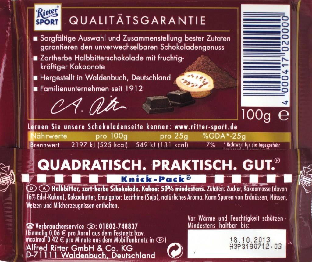 Ritter Sport Halbbitter-Schokolade Packung - Rückseite
