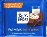 Vorderseite der Ritter Sport Vollmilchschokolade laktosefrei
