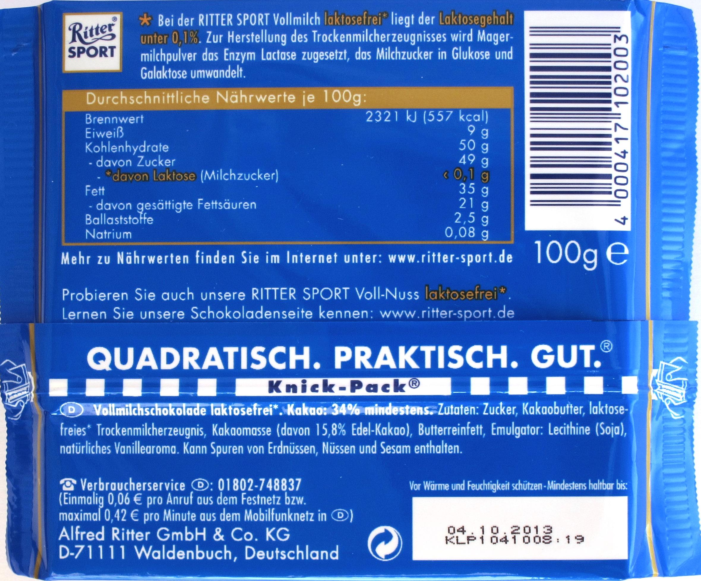 Rückseite/Inhalt der Ritter Sport Vollmilchschokolade laktosefrei