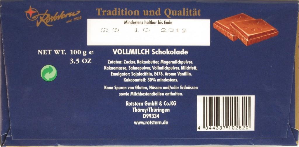 Thüringische Schokolade: Rotstern Vollmilch - Packungsrückseite