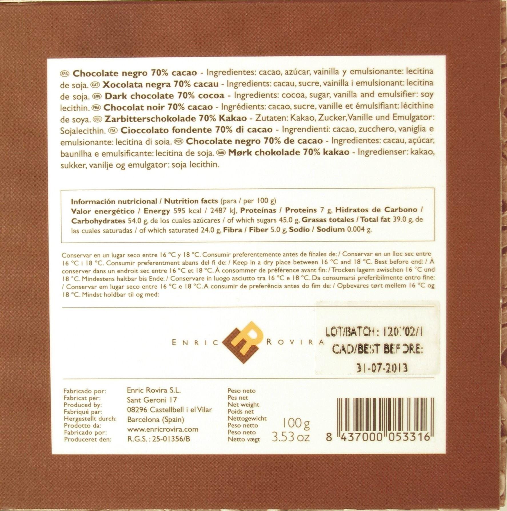 Dunkle Tafelschokolade Enric Rovira, Barcelona - Inhaltsangaben