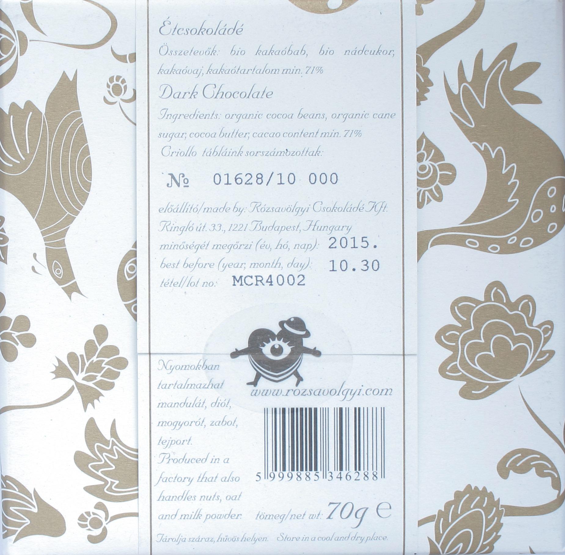 Rückseite: Madagaskar-Schokolade von Rozsavolgyi Csokolade
