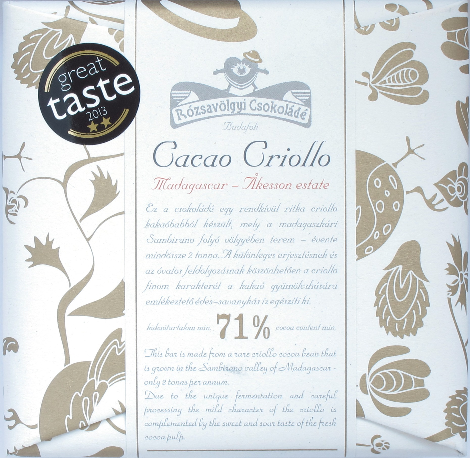 Madagaskar-Schokolade von Rozsavolgyi Csokolade