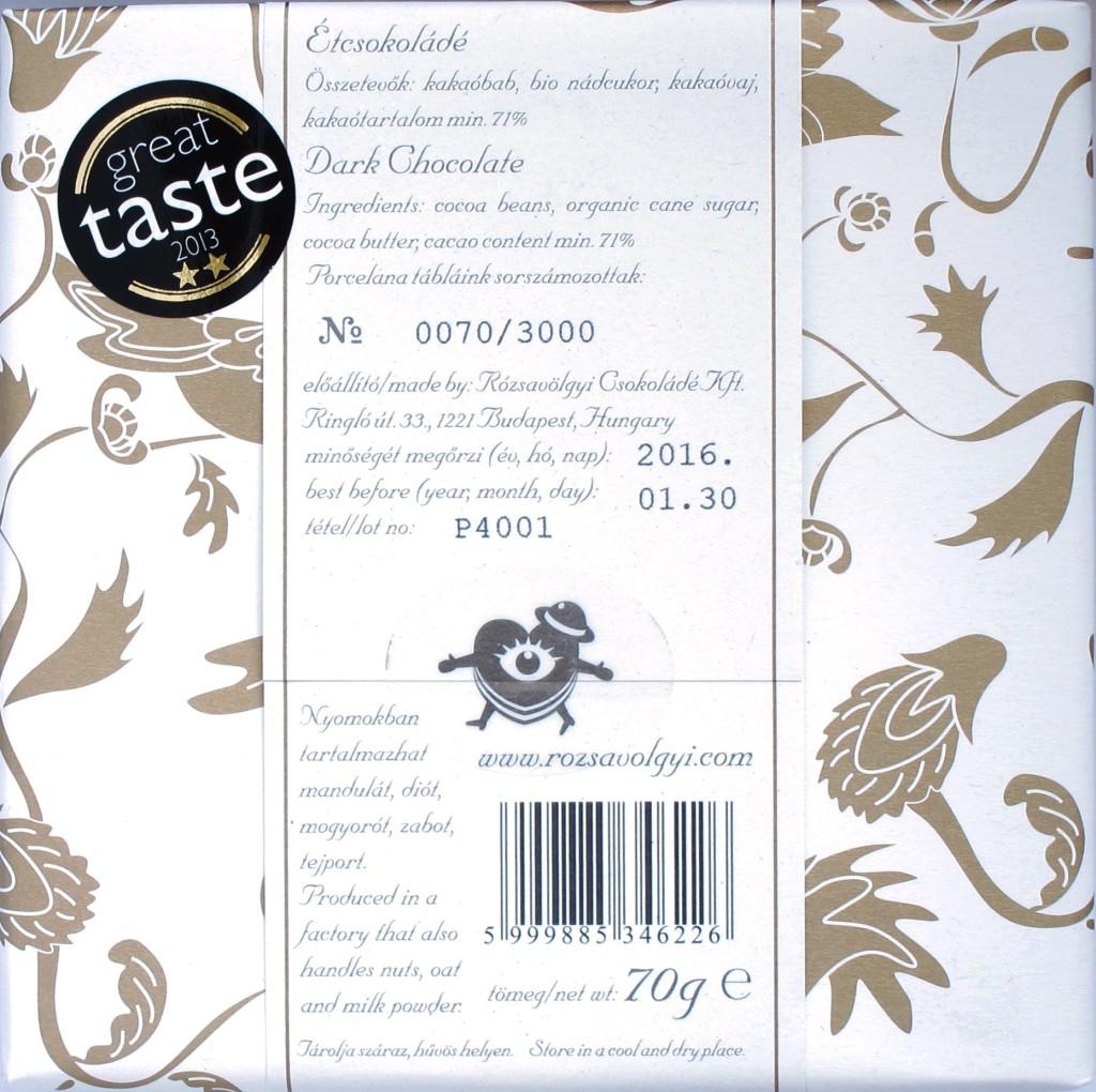 Rózsavölgyi Csokoládé: 71% Criollo Porcelana Schokolade, Inhaltsangaben