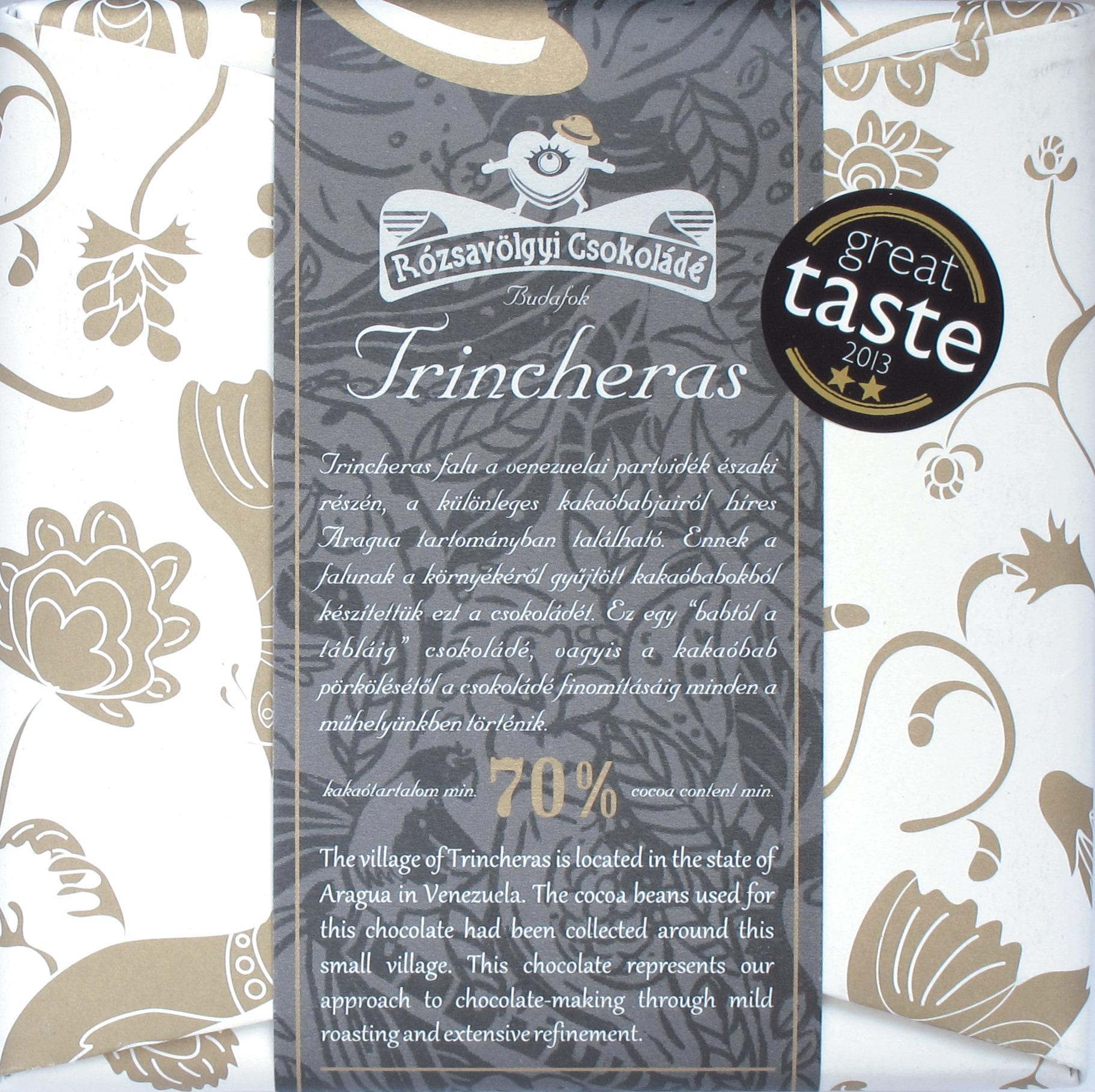 Rozsavolgyi Csokolade Trincheras 70%