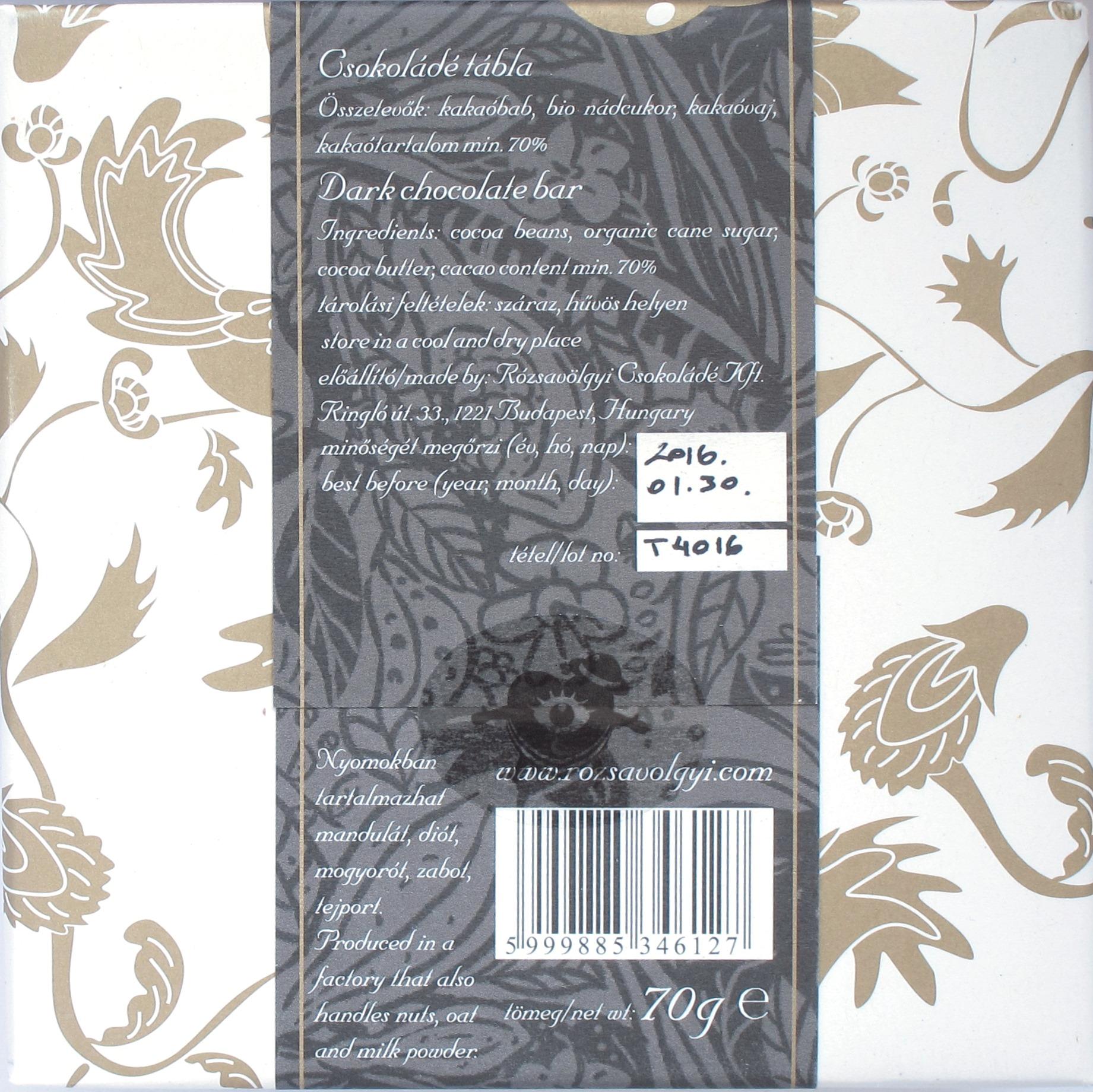 Rückseite: Rozsavolgyi Csokolade Trincheras 70%