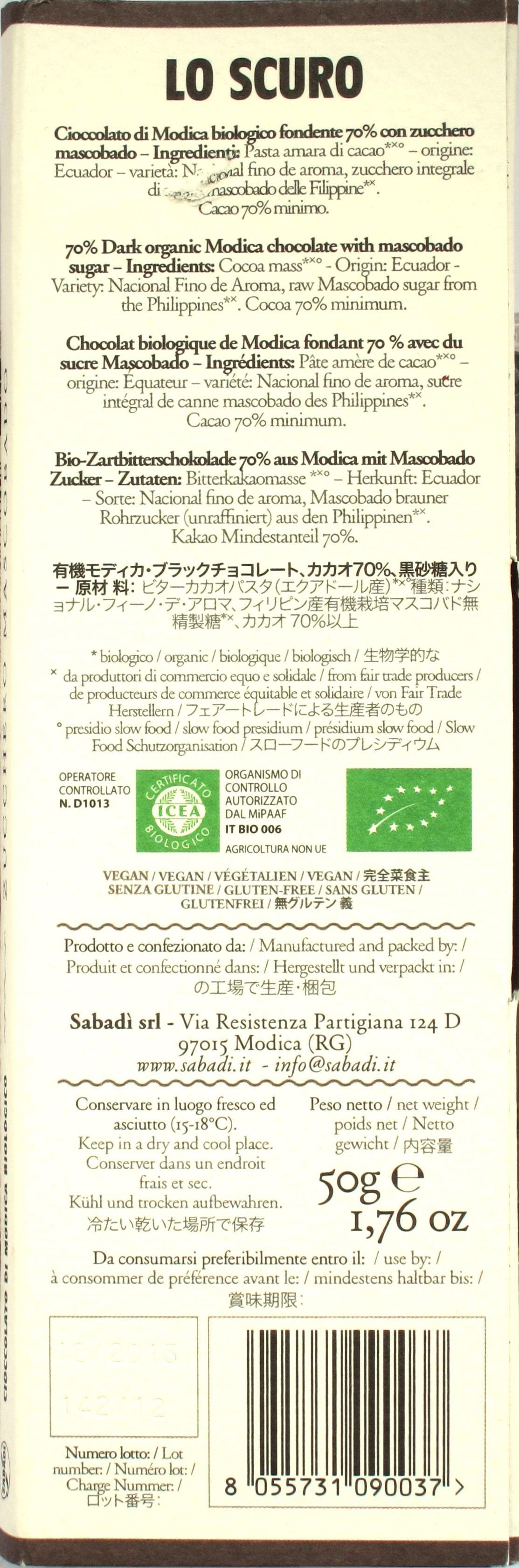Sabadi 70%-Modica-Schokolade: Rückseite