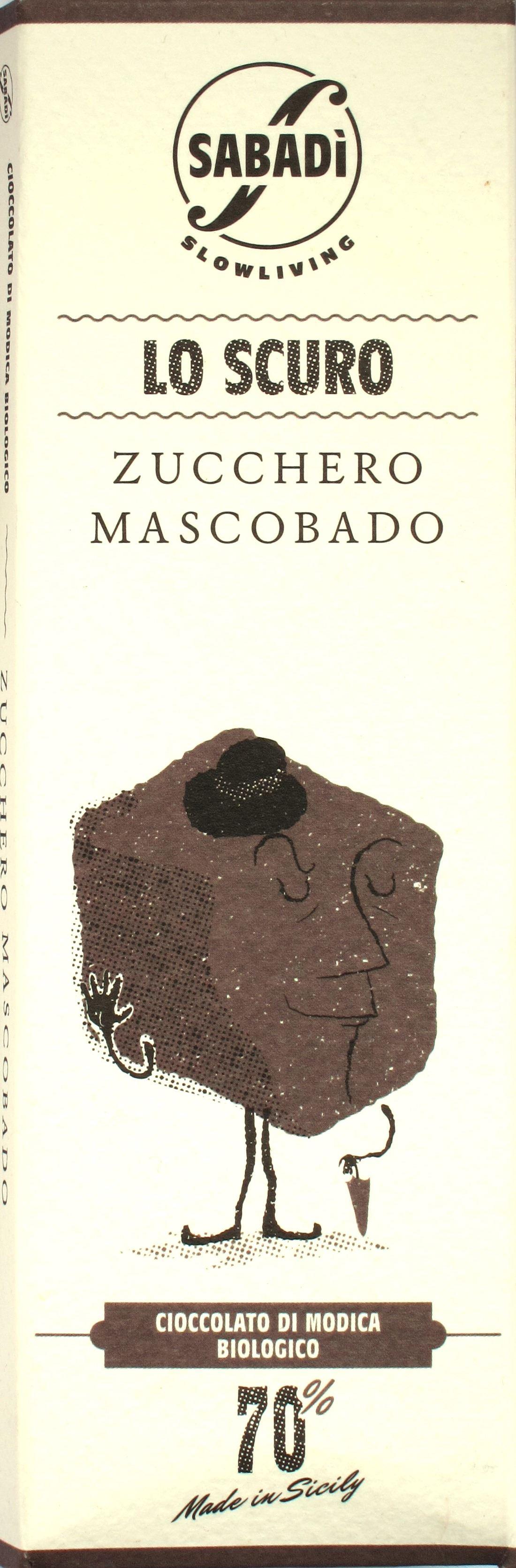 Sabadi 70%-Modica-Schokolade: Vorderseite