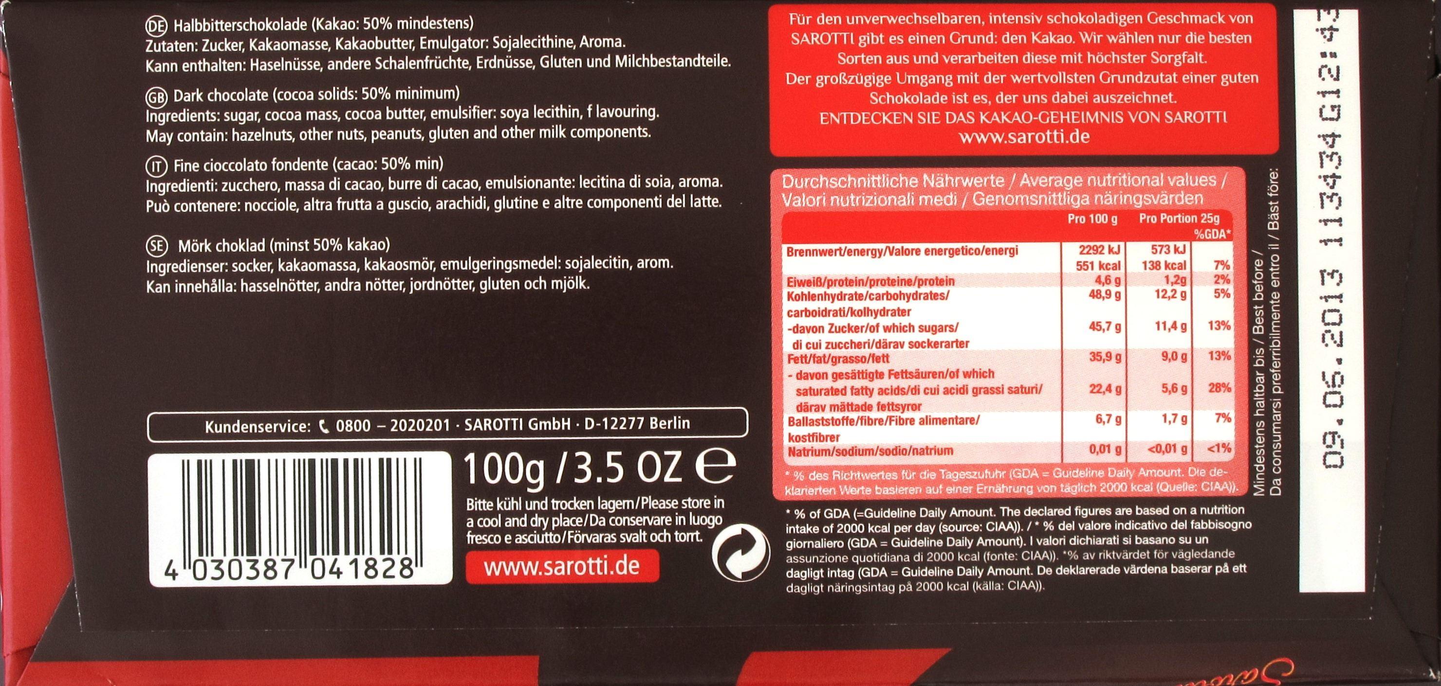 Sarotti Edel-Halbbitter Produktinformationen