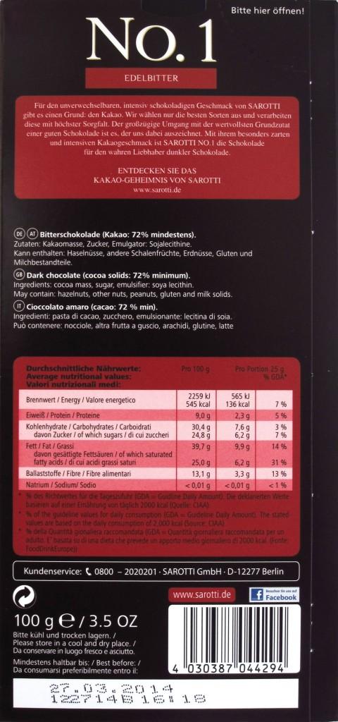 Sarotti No. 1 Edelbitter Ecuador 72%, Rückseite