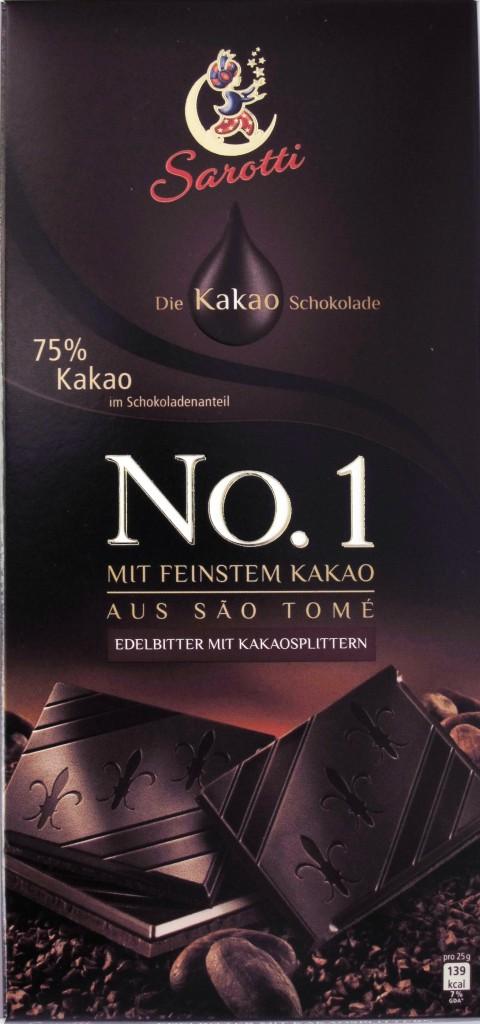 Sarotti-Schokolade 75% Sao Tome mit Splittern