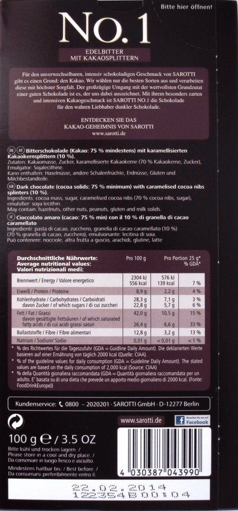 Sarotti-Schokolade 75% Sao Tome mit Splittern - Rückseite