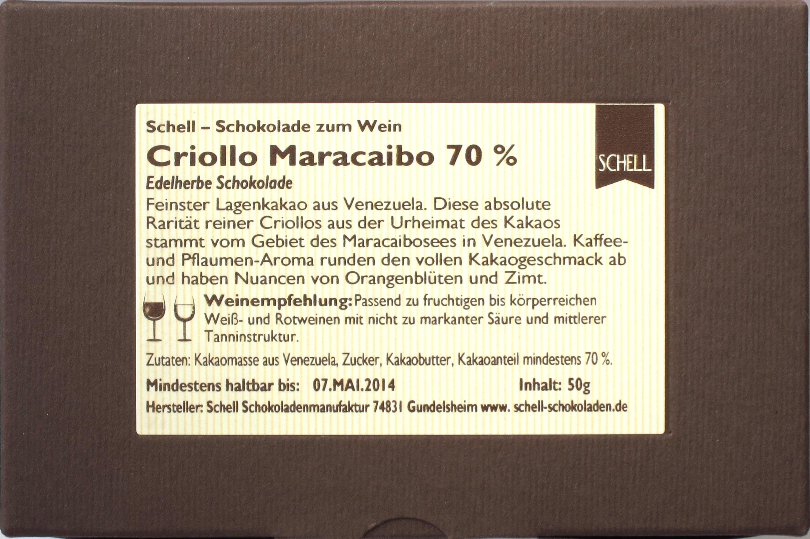 Schell Schokolade CRIOLLO MARACAIBO - Rückseite