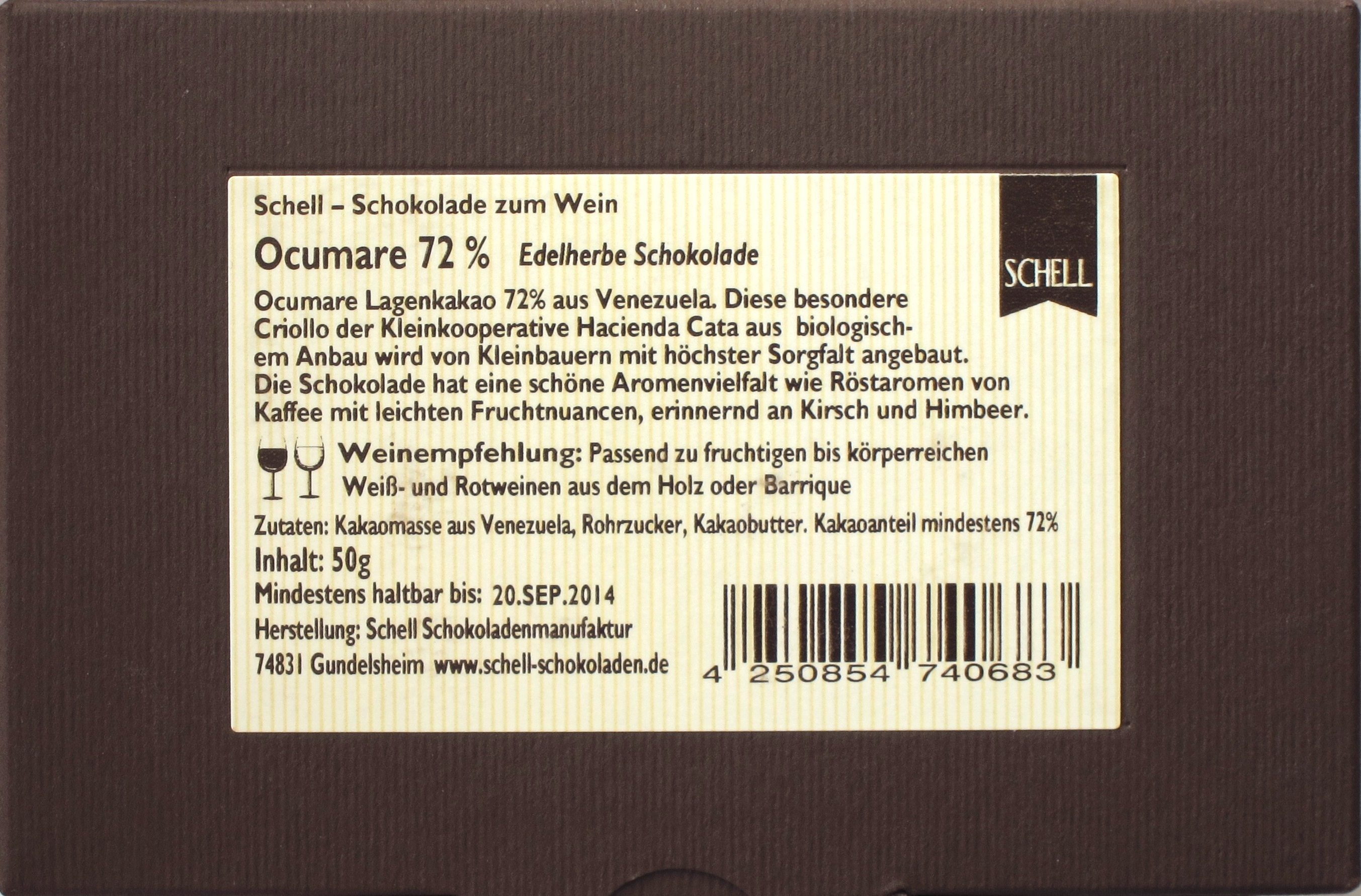 Schell Schokoladenmanufaktur Ocumare 72 (Rückseite)