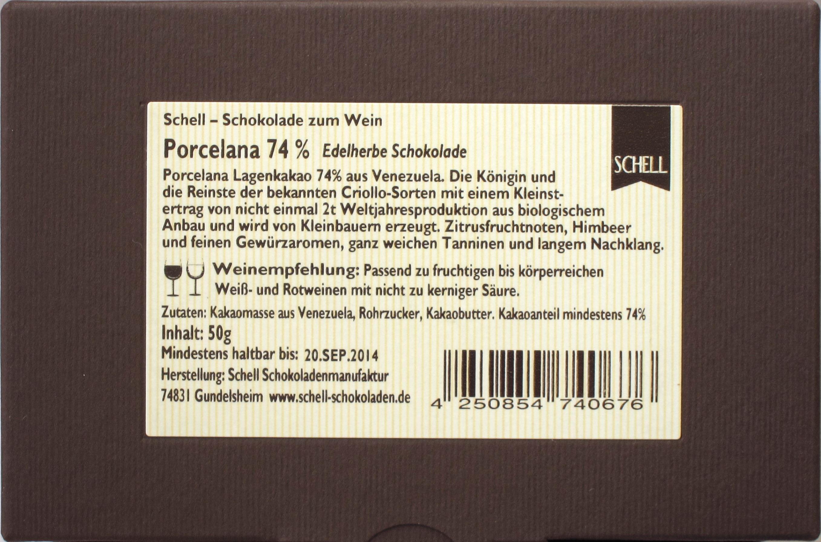 Schell-Schokolade Porcelana 74%, Rückseite