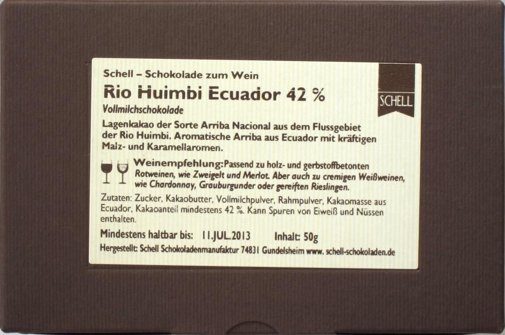 Rückseite, Schell Rio Huimbi Ecuador 42%