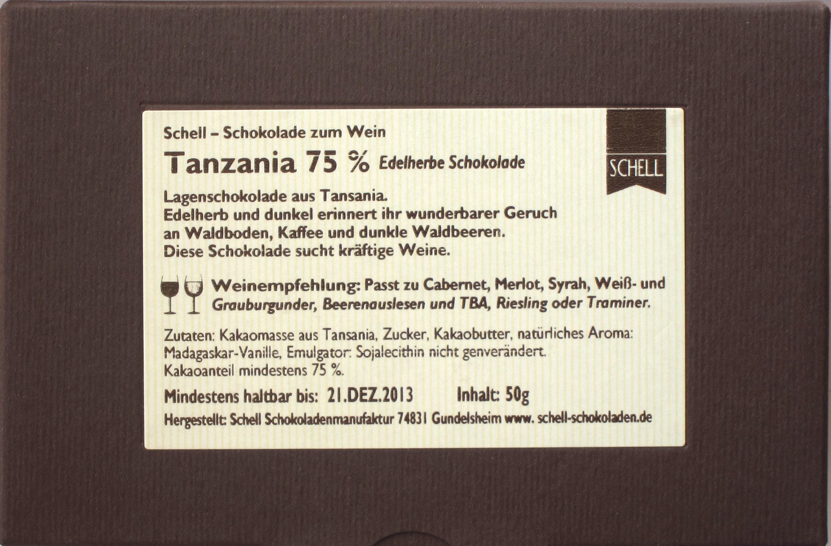 Schell-Schokolade Tanzania - Rückseite