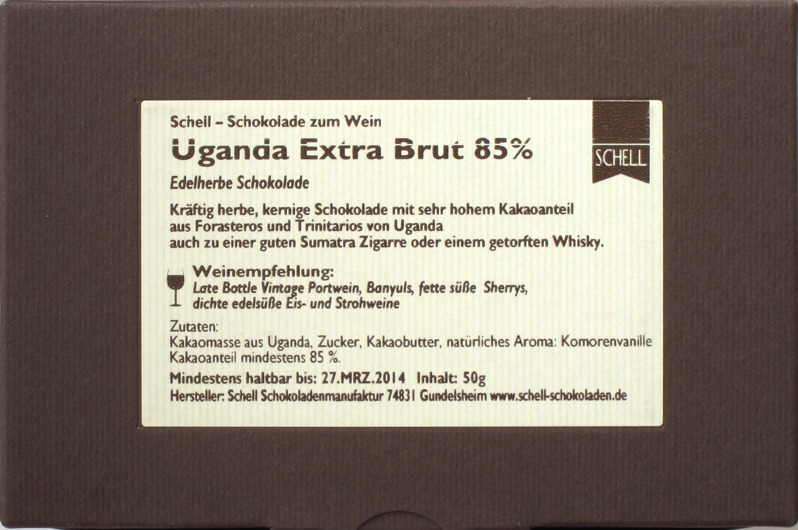 "Schell-Schokolade ""Uganda extra brut"" 85%, Rückseite"