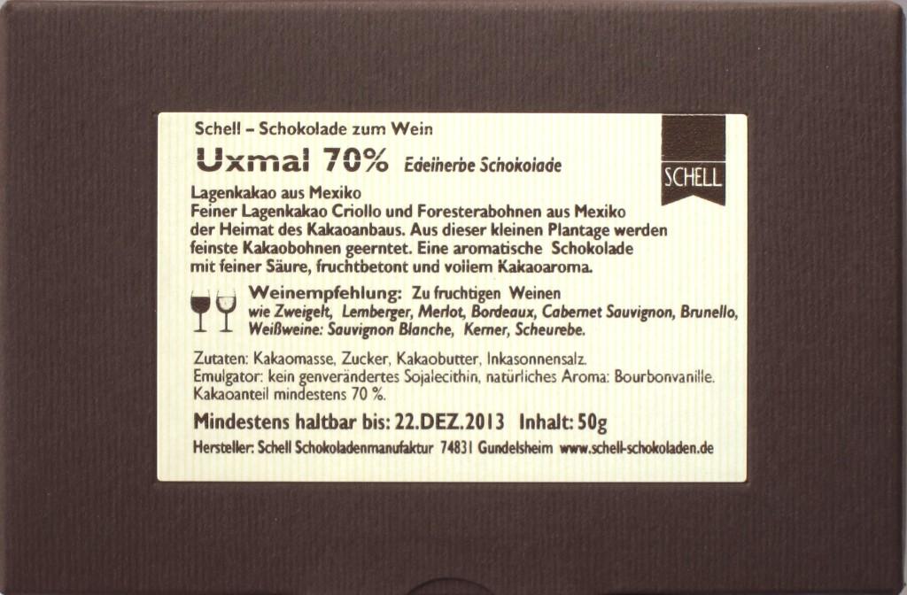 Schell-Schokolade Uxmal, Rückseite