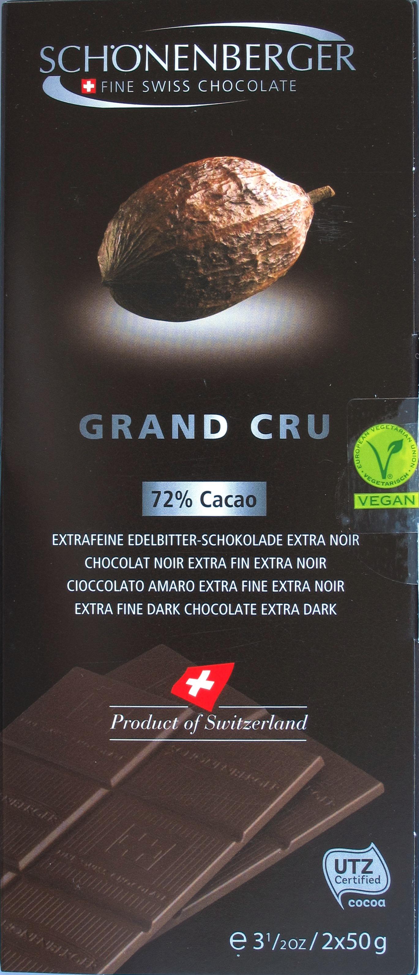 Front: Schönenberger Bitterschokolade 72%