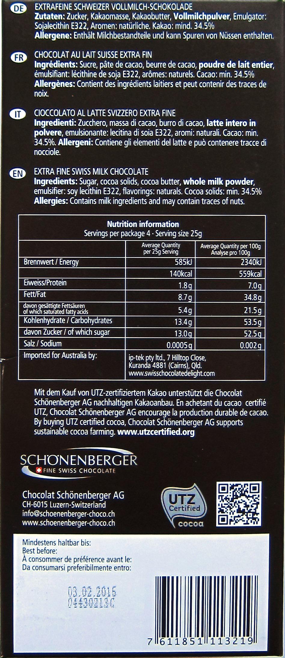 Schönenberger Grand Cru 34% Milch, Rückseite