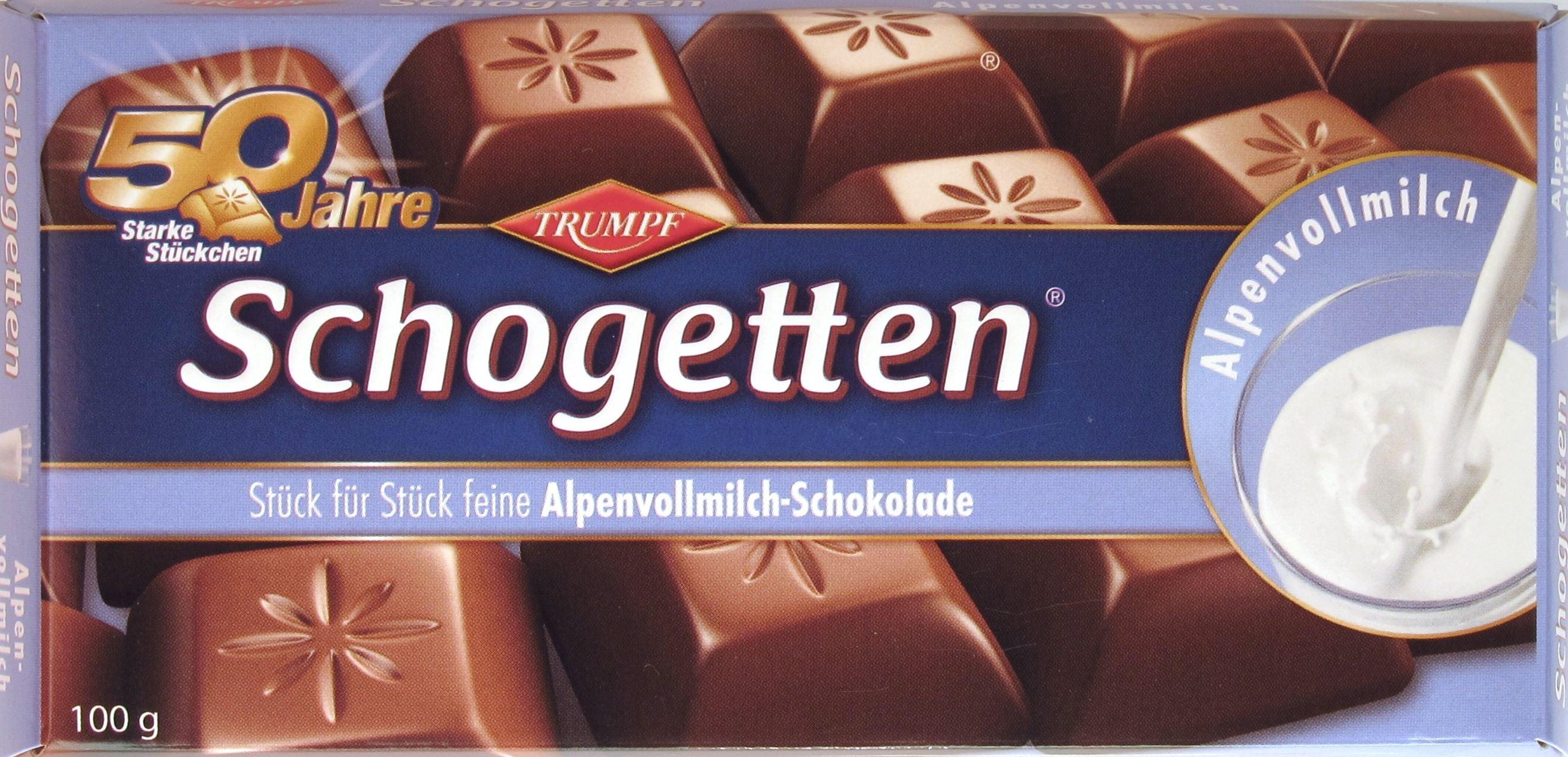 Eine Packung Schogetten Alpenvollmilchschokolade (2012)