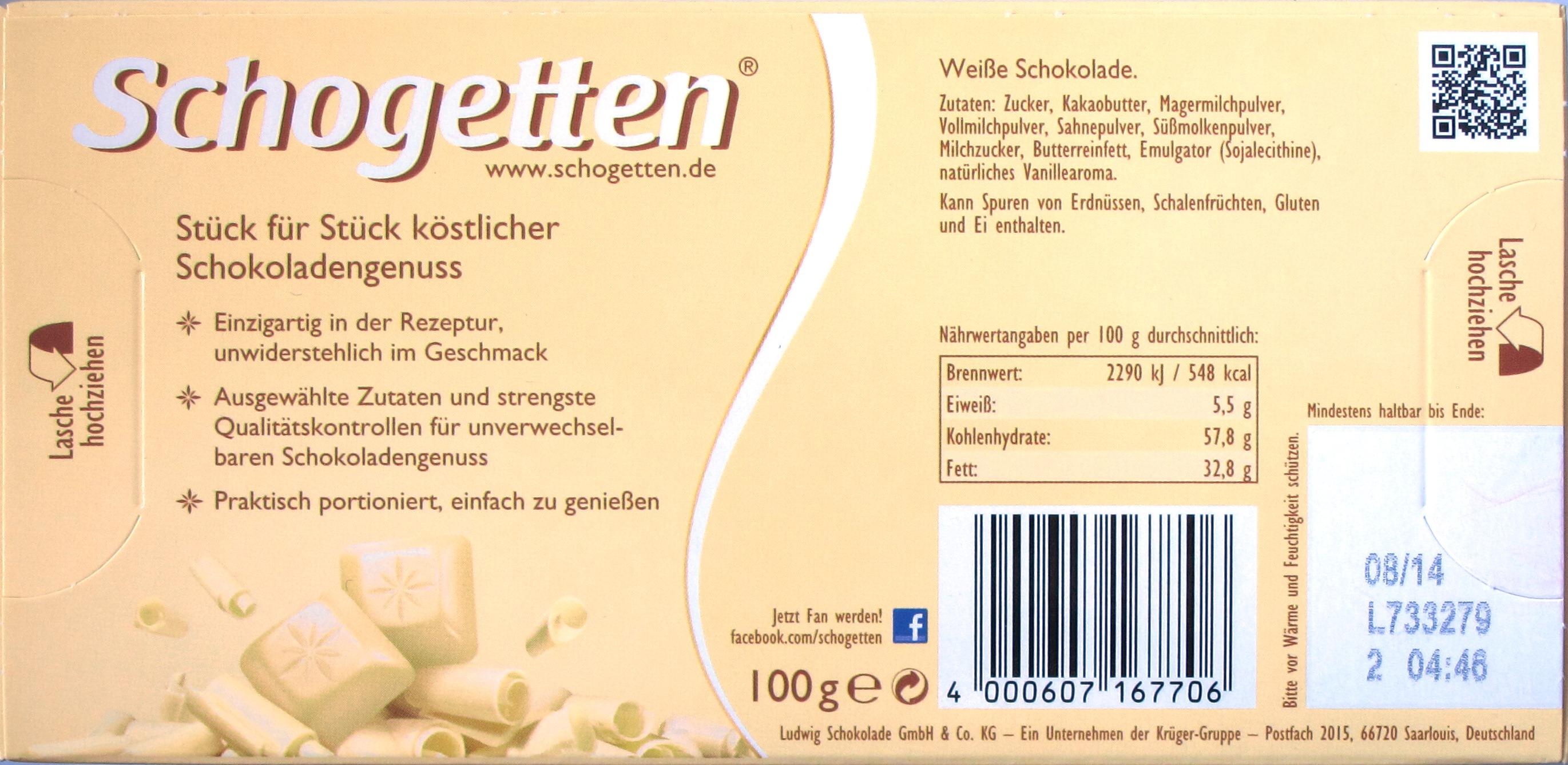 Schogetten, Weiße Schokolade - Rückseite