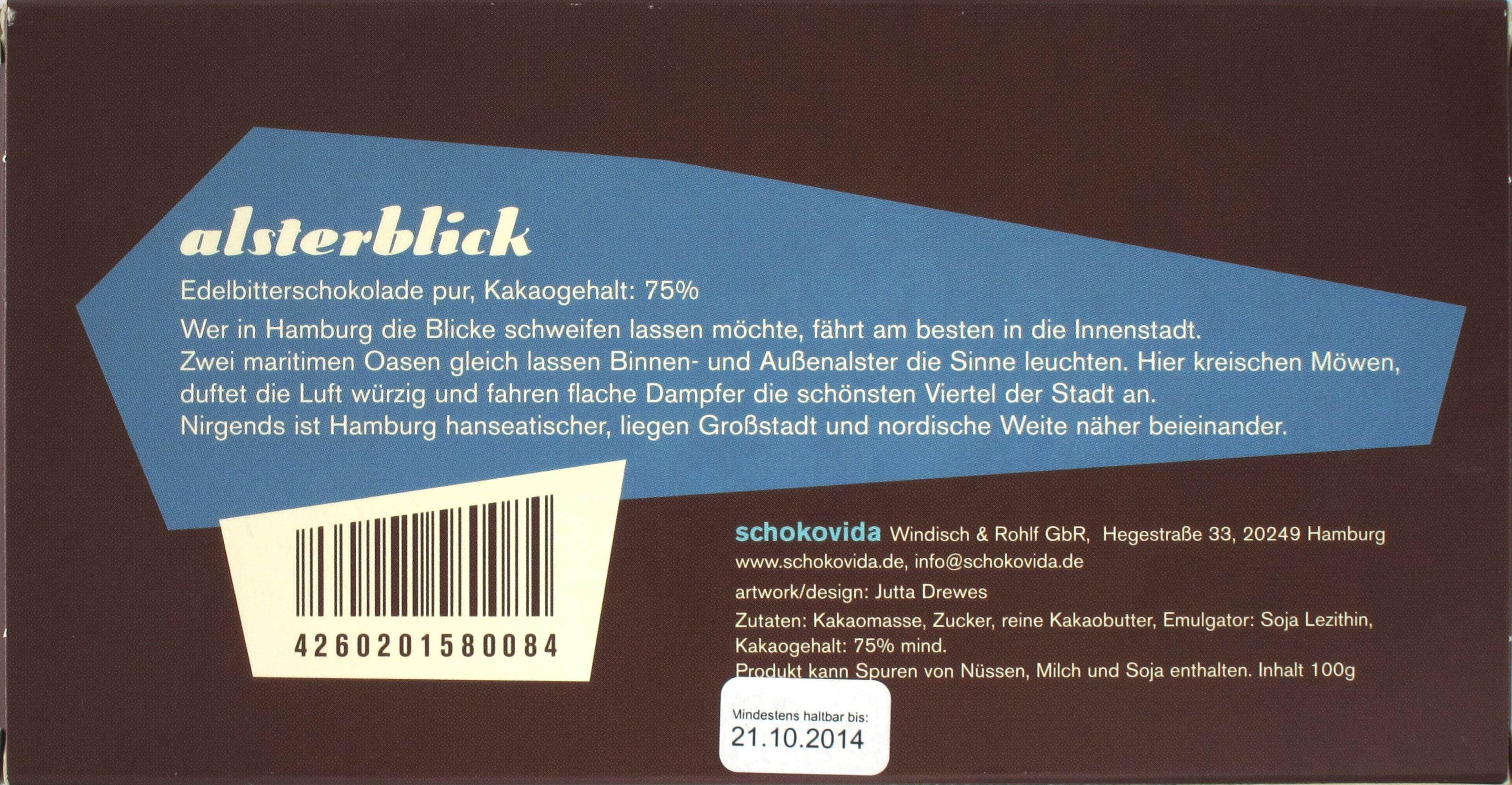 "Schachtelrückseite Schokovida ""Alsterblick"" ""Hamburg-Schokolade"""