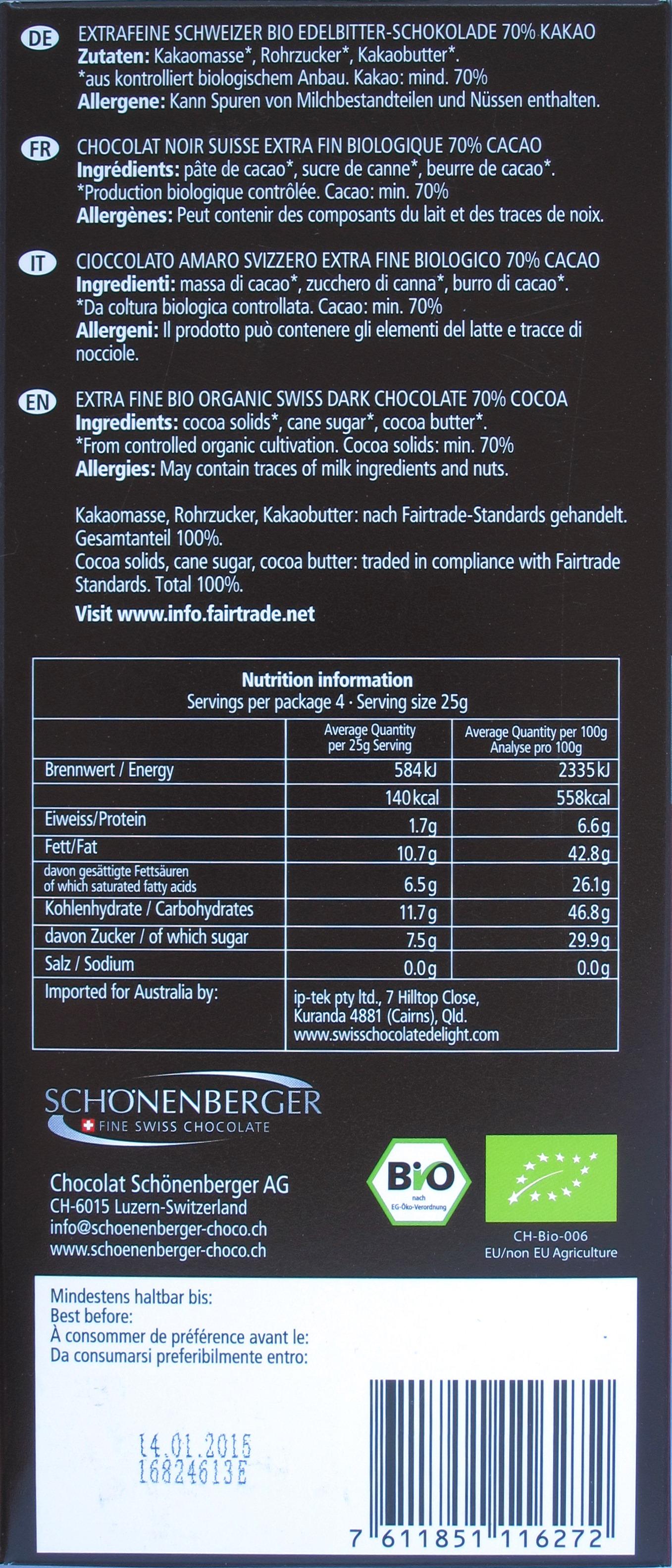 Schönenberger Schweizer 70%-Bitterschokolade, Rückseite